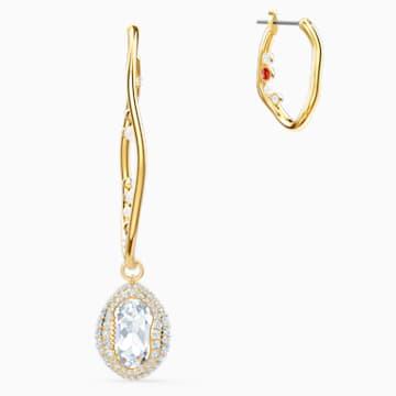 Shell Pierced Earrings, Large, Light multi-colored, Gold-tone plated - Swarovski, 5520663