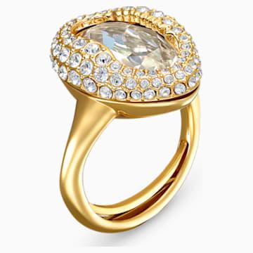 Shell-ring, Wit, Goudkleurige toplaag - Swarovski, 5520666