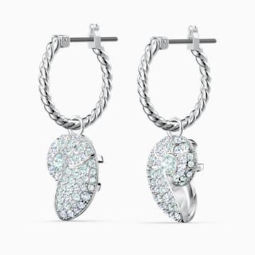 Shell Nautilus Pierced Earrings, Aqua, Rhodium plated - Swarovski, 5520670