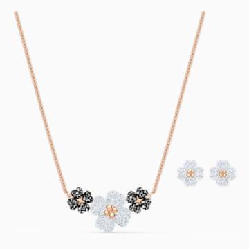 Latisha 套装, 黑色, 镀玫瑰金色调 - Swarovski, 5520946