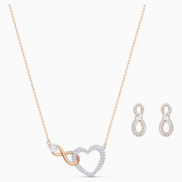 Set Infinity Heart Swarovski, alb, finisaj metalic mixt - Swarovski, 5521040