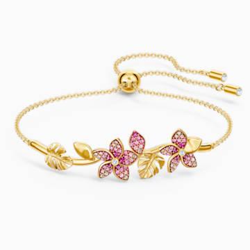 Bracelet-jonc Tropical Flower, rose, métal doré - Swarovski, 5521058