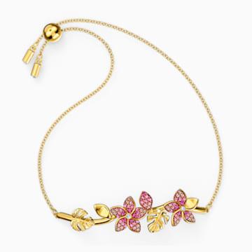 Tropical Flower 手鐲, 粉紅色, 鍍金色色調 - Swarovski, 5521058