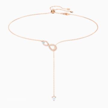 Náhrdelník ve tvaru Y Swarovski Infinity, bílý, pozlacený růžovým zlatem - Swarovski, 5521346