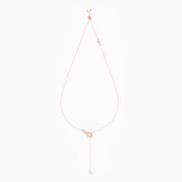 Swarovski Infinity Y形项链, 白色, 镀玫瑰金色调 - Swarovski, 5521346