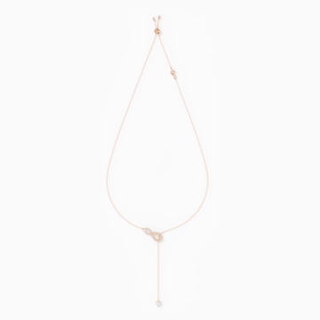 Swarovski Infinity Y-Kolye, Beyaz, Pembe altın rengi kaplama - Swarovski, 5521346