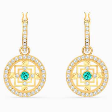 Orecchini a cerchio Swarovski Symbolic Mandala, verde, placcato color oro - Swarovski, 5521446