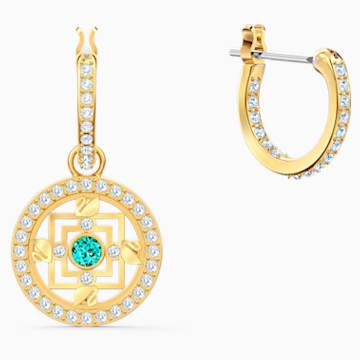 Swarovski Symbolic Mandala 穿孔耳环, 绿色, 镀金色调 - Swarovski, 5521446