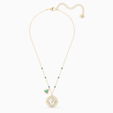 Swarovski Symbolic Lotus项链带蓝绿色莲花造型挂坠仿水晶项链吊坠- Swarovski, 5521451