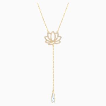 Collar Swarovski Symbolic Lotus, blanco, baño tono oro - Swarovski, 5521468