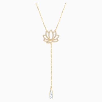 Swarovski Symbolic Lotus Necklace, White, Gold-tone plated - Swarovski, 5521468