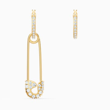 So Cool Pin 穿孔耳环, 白色, 镀金色调 - Swarovski, 5521704