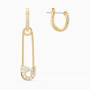 So Cool Pin İğneli Küpeler, Beyaz, Altın rengi kaplama - Swarovski, 5521704