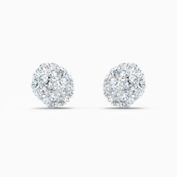 So Cool Stud Pierced Earrings, White, Rhodium plated - Swarovski, 5521735