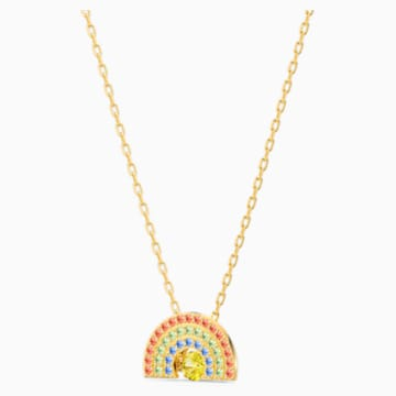 Swarovski Sparkling Dance Rainbow 项链, 浅色渐变, 镀金色调 - Swarovski, 5521756