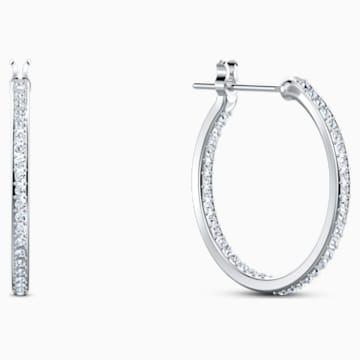 Spirit Hoop Pierced Earrings, Aqua, Rhodium plated - Swarovski, 5521784