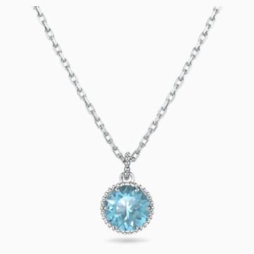 Pendentif Birthstone, mars, aiguemarine turquoise, métal rhodié - Swarovski, 5522774
