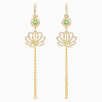 Boucles d'oreilles Swarovski Symbolic Lotus, vert, métal doré - Swarovski, 5522840