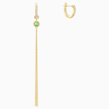 Swarovski Symbolic Lotus 穿孔耳環, 綠色, 鍍金色色調 - Swarovski, 5522840