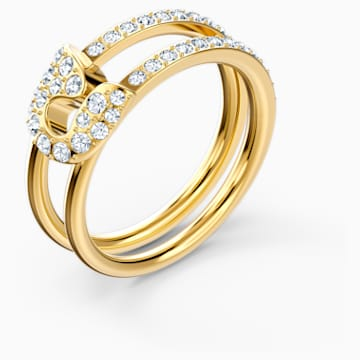 So Cool Pin 戒指, 白色, 鍍金色色調 - Swarovski, 5522866