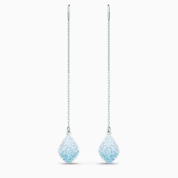 Fun Pierced Earrings, Aqua, Rhodium plated - Swarovski, 5524054