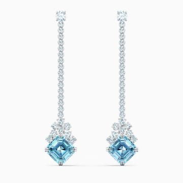Sparkling Linear 穿孔耳環, 海藍色, 鍍白金色 - Swarovski, 5524138