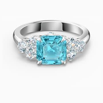 Sparkling 戒指, 海藍色, 鍍白金色 - Swarovski, 5524141