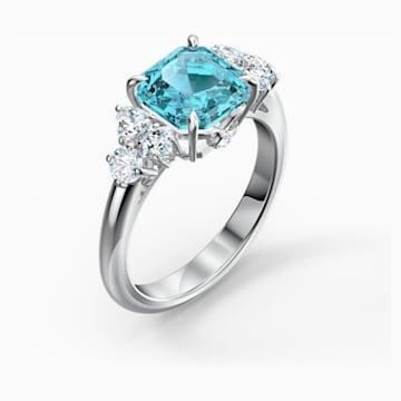 Prsten Sparkling, akvamarínový, rhodiovaný - Swarovski, 5524141