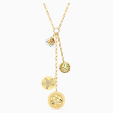Shine Y Necklace, Light multi-colored, Gold-tone plated - Swarovski, 5524186