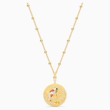 Shine Fish Pendant, Red, Gold-tone plated - Swarovski, 5524187