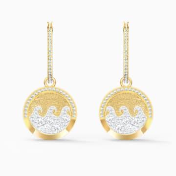 Shine Wave Pierced Earrings, Light multi-coloured, Gold-tone plated - Swarovski, 5524202