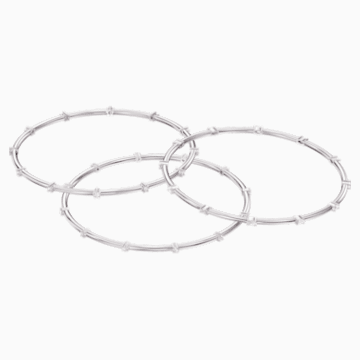 Parure de bracelets-joncs Moonsun, Blanc, Métal rhodié - Swarovski, 5524267