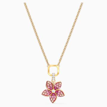Pendente Tropical Flower, rosa, placcato color oro - Swarovski, 5524356