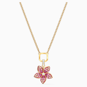 Tropical Flower Anhänger, rosa, vergoldet - Swarovski, 5524356