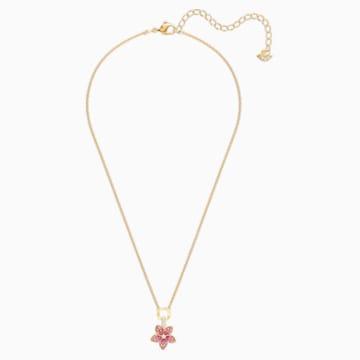 Tropical Flower 鏈墜, 粉紅色, 鍍金色色調 - Swarovski, 5524356