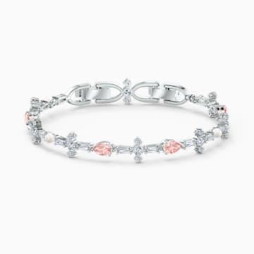 Náramek Perfection, růžový, rhodiovaný - Swarovski, 5524544