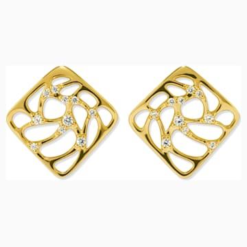 Lace Small Earrings, Swarovski Created Diamonds, 18K Yellow Gold - Swarovski, 5524682
