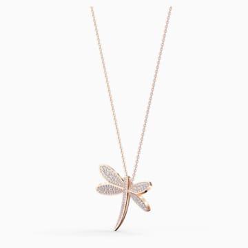 Eternal Flower 项链, 白色, 镀玫瑰金色调 - Swarovski, 5524856