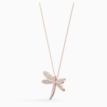 Eternal Flower Necklace, White, Rose-gold tone plated - Swarovski, 5524856