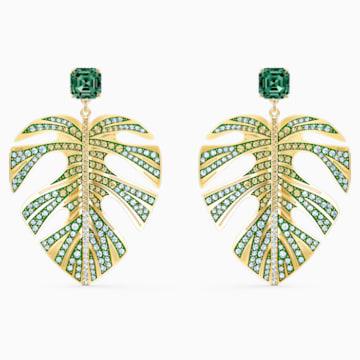 Tropical Leaf 穿孔耳環, 綠色, 鍍金色色調 - Swarovski, 5525242