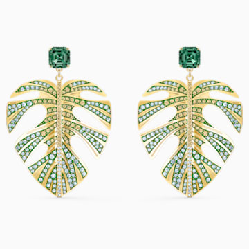 Tropical-steekoorbellen met blad, Groen, Goudkleurige toplaag - Swarovski, 5525242