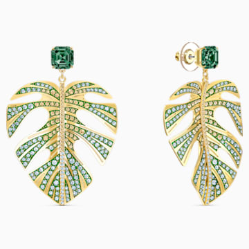 Tropical Leaf Pierced Earrings, Green, Gold-tone plated - Swarovski, 5525242
