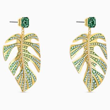 Tropical Leaf 穿孔耳环, 绿色, 镀金色调 - Swarovski, 5525242