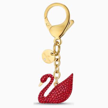 Talisman pentru geantă Swan roșu, placat în nuanță aurie - Swarovski, 5526754