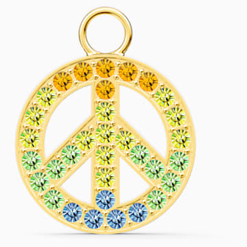Swarovski Remix Collection Peace Charm, Light multi-colored, Gold-tone plated - Swarovski, 5526998