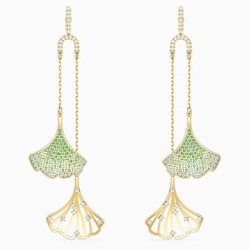 Stunning Gingko Mobile 穿孔耳环, 绿色, 镀金色调 - Swarovski, 5527080