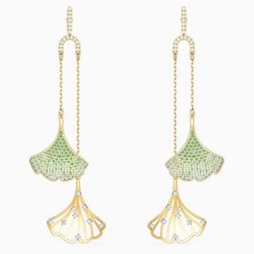 Stunning Gingko Mobile Pierced Earrings, Green, Gold-tone plated - Swarovski, 5527080