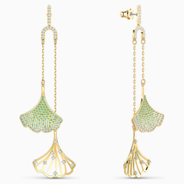 Stunning Ginko Mobile Pierced Earrings, Green, Gold-tone plated - Swarovski, 5527080