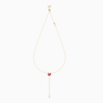 Iconic Swan Y Necklace, Red, Gold-tone plated - Swarovski, 5527408