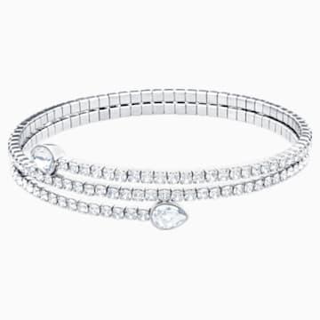 Bracelet-jonc Twisty, blanc, Métal rhodié - Swarovski, 5528443
